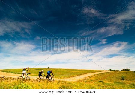 group relax biking outdoors