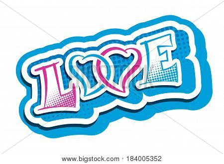 Love word with two hearts symbol. Romantic feelings blue pink vector illustration. Vallentines Day label template.