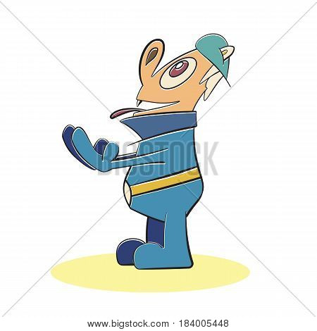 Fun man surprised cartoon character vector illustration. Smiling happy humor mascot. Excited waiting enjoying man.