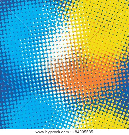 Halftone color vector background. Dots blue yellow orabge white abstract template.