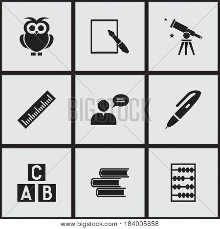 Set Of 9 Editable University Icons. Includes Symbols Such As Arithmetic, Pen, Alphabet Cube And More. Can Be Used For Web, Mobile, UI And Infographic Design.