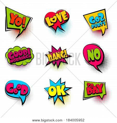 love, bang, ok big set comic font bubble effects template. Speech chat bubbles halftone dot background pop art. Dialog cloud text style pop art. Creative idea speech balloon conversation comic book