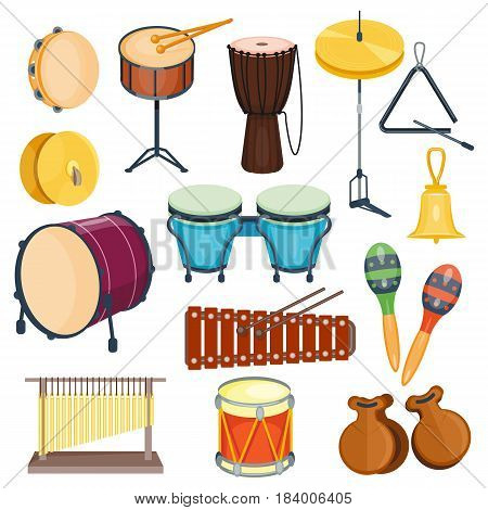 Vector percussion musical instruments in flat style. Various classical orchestral concert stage, traditional national drum. Cartoon graphic design elements