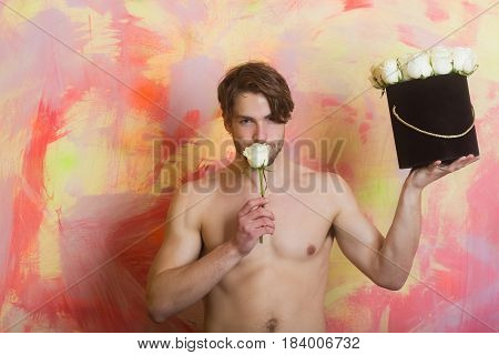 Guy Or Handsome Man Sniffing At White Rose
