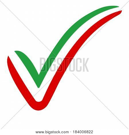 check mark style Iran flag symbol elections, voting and approval, vector concept check mark Irantick
