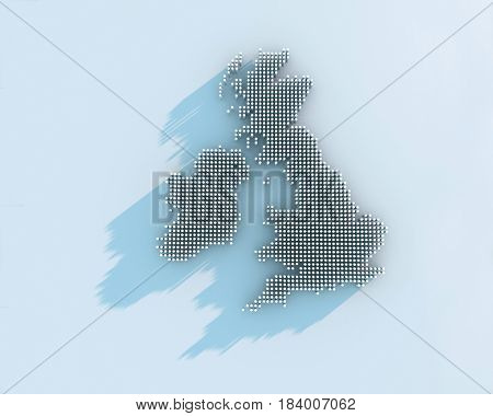 3d render of a map of great britain