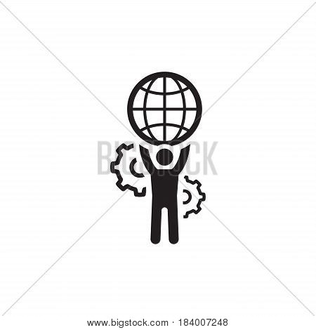 Global Support Icon. Flat Design. Business Concept. Isolated Illustration