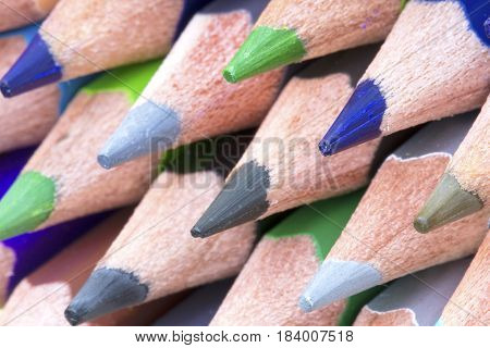 Close up image of colorful color pencils