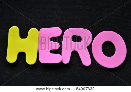 hero word on a  abstract black background