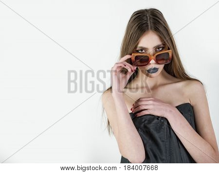 Beauty Fashion Model Girl Portrait, Wearing Stylish Sunglasses, Copy Space