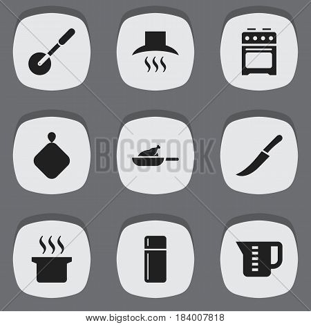 Set Of 9 Editable Meal Icons. Includes Symbols Such As Sword, Stove, Knife Roller And More. Can Be Used For Web, Mobile, UI And Infographic Design.