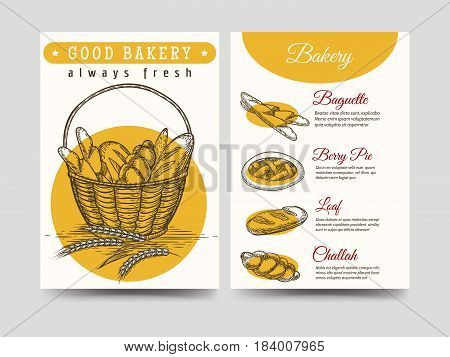 Baked goods yellow brochure flyer template, vector illustration