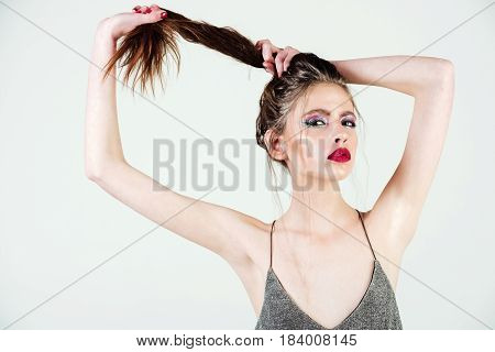 Sexy Glamour Girl With Long Curly Hair And Glitter Makeup
