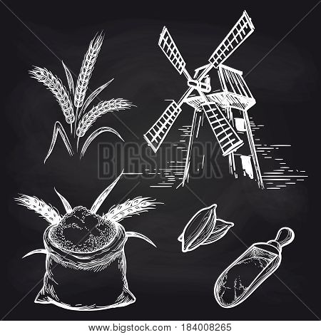 Mill and mill products. Vector whole bag of flour and mill and wheat ears on blackboard