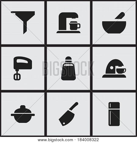 Set Of 9 Editable Meal Icons. Includes Symbols Such As Soup, Cup, Refrigerator And More. Can Be Used For Web, Mobile, UI And Infographic Design.