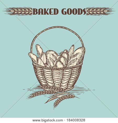 Vintage baked goods basket on green backdrop. Vector illustration