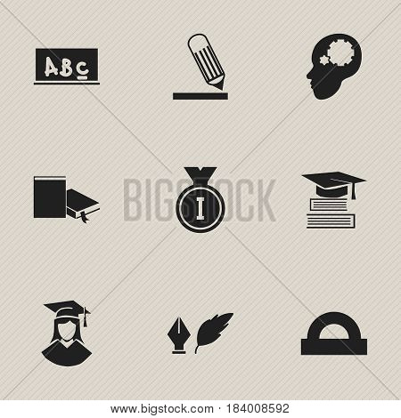 Set Of 9 Editable University Icons. Includes Symbols Such As Graduated Female, Writing, Semicircle Ruler And More. Can Be Used For Web, Mobile, UI And Infographic Design.