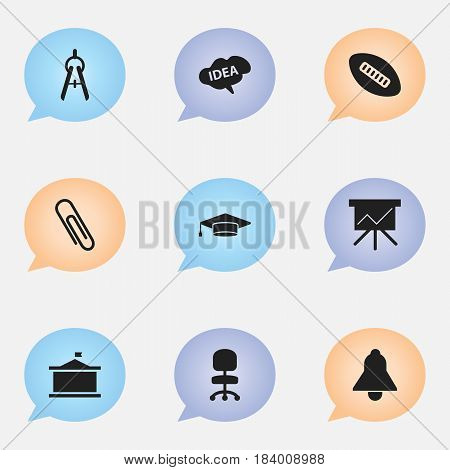 Set Of 9 Editable Graduation Icons. Includes Symbols Such As Bell, Oval Ball, Staple And More. Can Be Used For Web, Mobile, UI And Infographic Design.