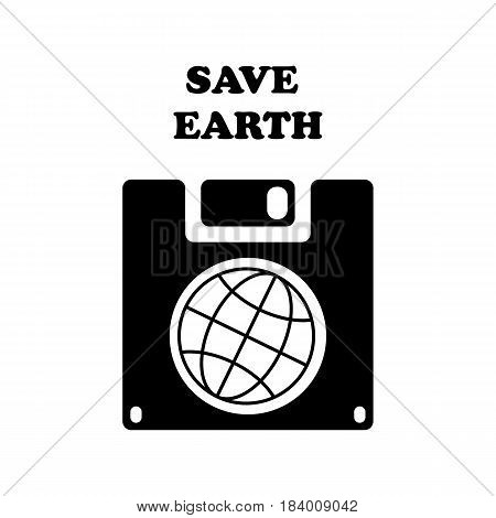 Save the World vector symbol. Save earth planet on floppy disk