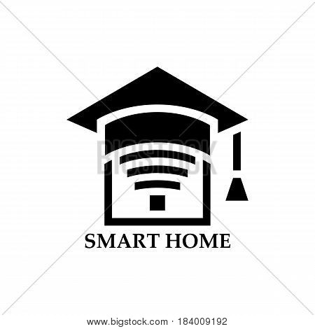 Smart home icon. Element for cards, illustration, poster and web design. Stylized roof of square academic cap