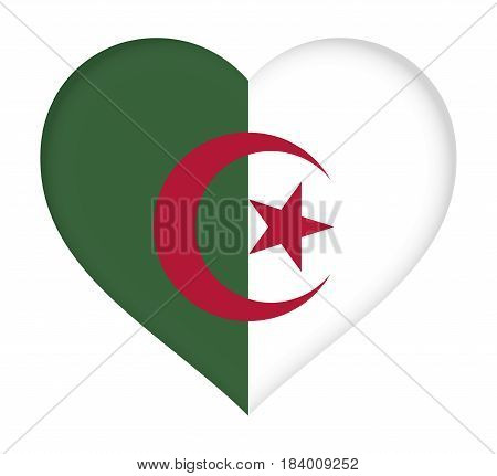 Illustration of the flag of Algeria shaped like a heart.