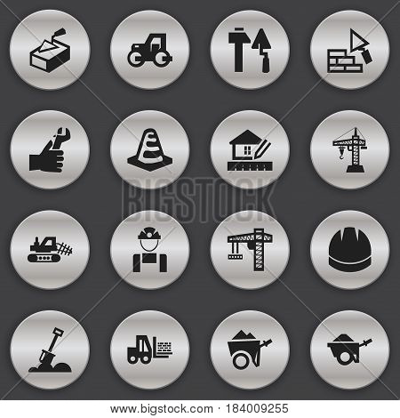 Set Of 16 Editable Building Icons. Includes Symbols Such As Elevator, Hardhat, Caterpillar And More. Can Be Used For Web, Mobile, UI And Infographic Design.