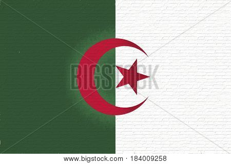 Illustration of the national flag of Algeria looking like it is painted on a wall.