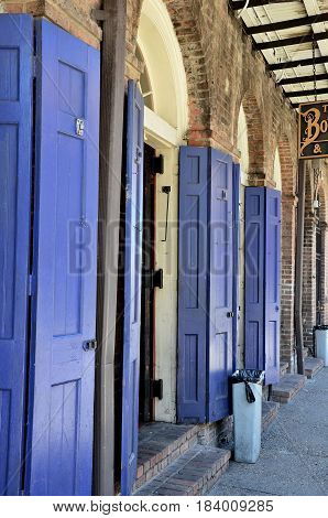 NEW ORLEANS, USA - APRYL 2017, 2017: old New Orleans houses in french Quarter