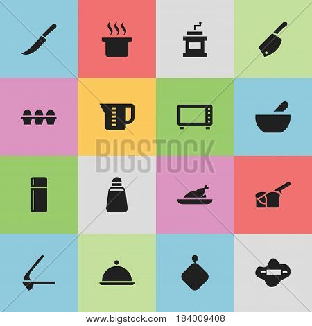 Set Of 16 Editable Meal Icons. Includes Symbols Such As Soup, Refrigerator, Paprika And More. Can Be Used For Web, Mobile, UI And Infographic Design.