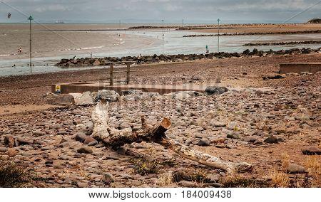drift wood in Minehead beach Somerset England UK