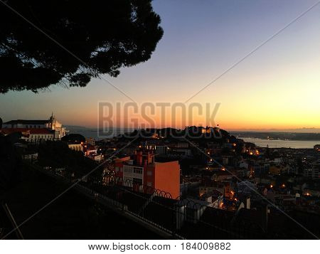 Beautiful Aerial view of Lisbon Panorama skyline at sunset.
