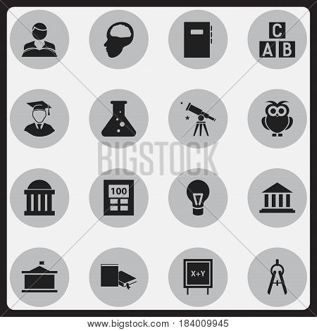 Set Of 16 Editable Education Icons. Includes Symbols Such As Math Tool, Univercity, Cerebrum And More. Can Be Used For Web, Mobile, UI And Infographic Design.