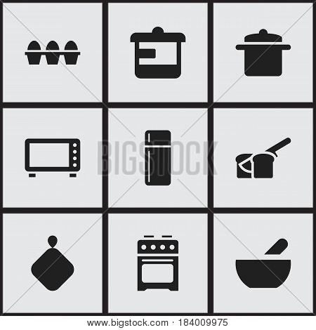 Set Of 9 Editable Meal Icons. Includes Symbols Such As Soup, Oven, Refrigerator And More. Can Be Used For Web, Mobile, UI And Infographic Design.