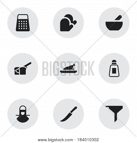 Set Of 9 Editable Meal Icons. Includes Symbols Such As Sword, Kitchen Glove, Filtering And More. Can Be Used For Web, Mobile, UI And Infographic Design.