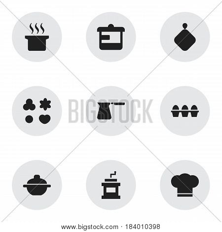 Set Of 9 Editable Meal Icons. Includes Symbols Such As Utensil, Saucepan, Cook Cap And More. Can Be Used For Web, Mobile, UI And Infographic Design.