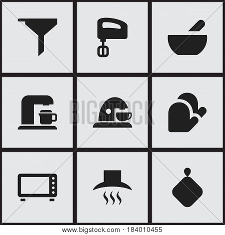 Set Of 9 Editable Meal Icons. Includes Symbols Such As Pot-Holder, Kitchen Hood, Agitator And More. Can Be Used For Web, Mobile, UI And Infographic Design.