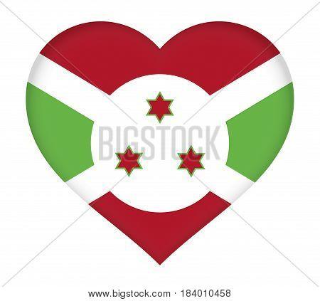 Illustration of the flag of Burundi shaped like a heart.