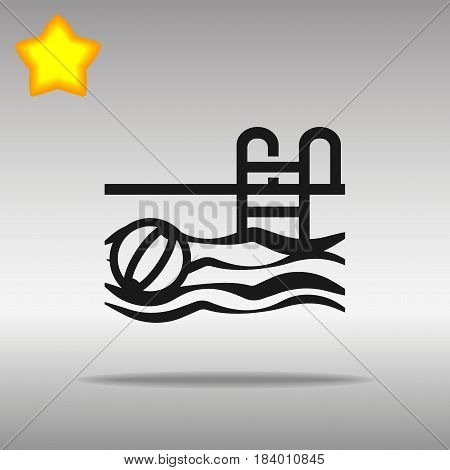 black Swimming Pool Icon button logo symbol concept high quality on the gray background
