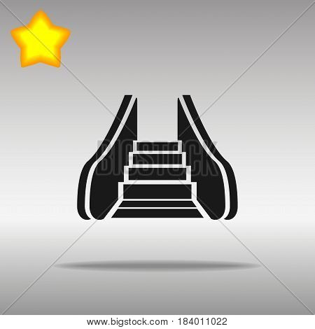 black Escalator isolated Icon button logo symbol concept high quality on the gray background