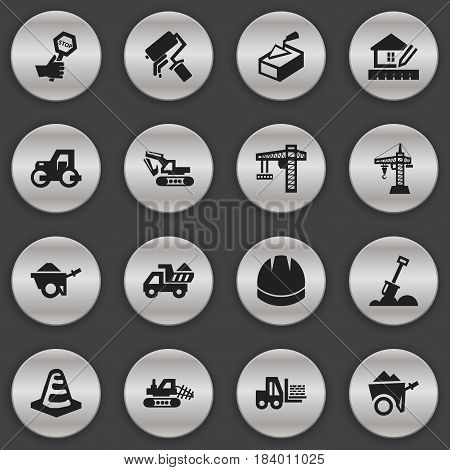 Set Of 16 Editable Building Icons. Includes Symbols Such As Hardhat, Truck, Elevator And More. Can Be Used For Web, Mobile, UI And Infographic Design.