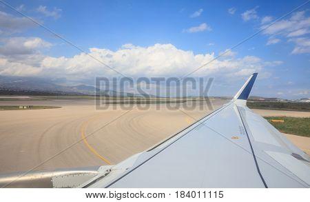 Airplane Wing During Take Off Or Landing