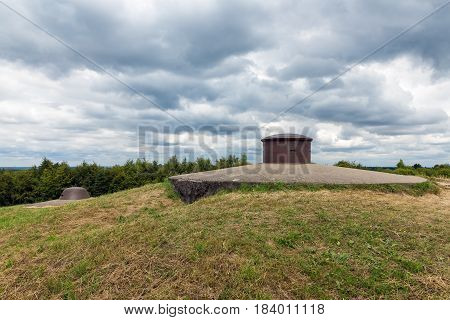 Observation post and machine gun turret at Fort Douaumont near Verdun. Battlefield of First World War One poster