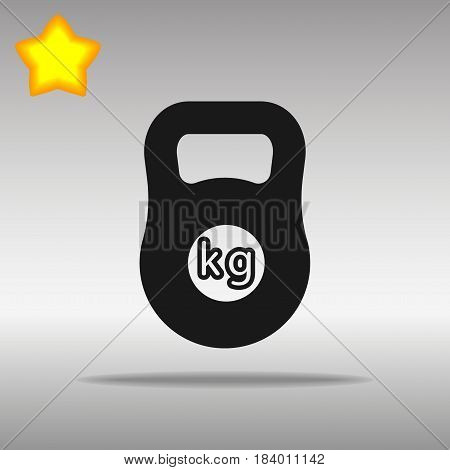 black Weight kilogram barbell sign Icon button logo symbol concept high quality on the gray background