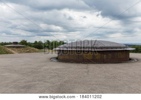 Fort Douaumont near Verdun in France with machine gun turret used in First World War One. It was raised for firing and then lowered for protection.