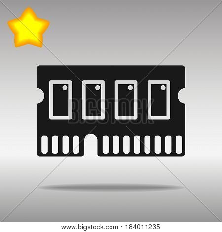 icon of memory chip RAM hardware rom power black Icon button logo symbol concept high quality on the gray background