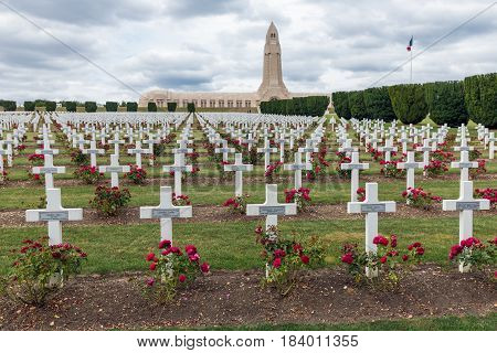VERDUN FRANCE - AUGUST 19 2016: Douaumont ossuary and cemetery for First World War One soldiers who died at Battle of Verdun