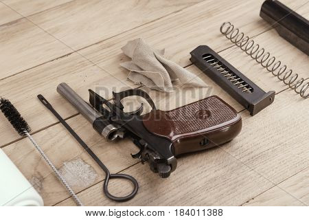 Separate Parts Of Makarov Pistol And Cleaning Kit