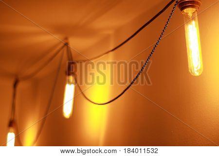set of Vintage Edison lamp illuminates the room
