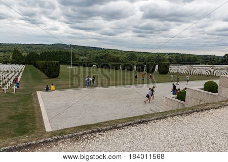 VERDUN FRANCE - AUGUST 19 2016: Visitors at Cemetery for First World War One soldiers who died at Battle of Verdun