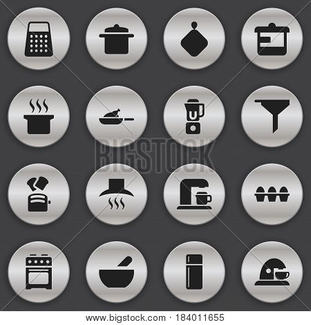 Set Of 16 Editable Cook Icons. Includes Symbols Such As Stove, Egg Carton, Kitchen Hood And More. Can Be Used For Web, Mobile, UI And Infographic Design.